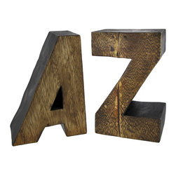 Zeckos - Decorative Wooden A to Z Bookends - These fabulous bookends fit right in on any bookshelf or bookcase. Each one measures approximately 8 inches tall, 5 1/2 inches long, 4 inches deep. They are made of wood, and have a rich brown finish. They make a great gift for your favorite bookworm, writer, or teacher.