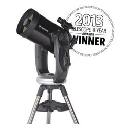 "Celestron 11 Inch CPC Schmidt-Cassegrain Telescope - With the largest aperture of the Celestron CPC GPS XLT line the Celestron CPC 1100 GPS XLT Schmidt-Cassegrain Telescope delivers the most light gathering power and a limiting magnitude of nearly 15. The Celestron CPC 1100 GPS XLT takes full advantage of its vast database of thousands of NGC and Abell galaxies and provides a new level of detail to all your favorite deep sky objects. The Celestron 11-Inch CPC Schmidt-Cassegrain with StarBright XLT Coatings offers innovative technology that will allow you to look deep into space. This scope combines new SkyAlign alignment technology advanced engineering and a bold new design all at an affordable price. In fact Celestron's Professional Computerized (CPC) Series with revolutionary SkyAlign alignment technology redefines everything that amateur astronomers are seeking. They offer quick and simple alignment GPS unsurpassed optical quality ease of setup and use advanced ergonomics enhanced computerization and value for money. The 11-inch CPC truly has it all. The Celestron CPC Series includes an internal GPS receiver that automatically downloads the date and time from orbiting satellites pinpointing the telescope's precise location. This eliminates the need for you to input the date time longitude and latitude manually. Thanks to SkyAlign alignment is a breeze. Simply locate and manually point the telescope towards three bright celestial objects - even the moon and bright planets will work. Celestron's NexStar software technology will then model the night sky to determine the position of every star planet and celestial object above the horizon. Once aligned the remote hand control allows direct access to each of the celestial catalogs in its remarkably user-friendly database. The CPC's database contains more than 40 000 celestial objects including the Caldwell Catalog as well as NGC Galaxies nebulae and planets. User-definable filter limits make navigating through this expansive database quicker and easier. When using the """"filter limits"""" feature only those objects that are above the horizon at your exact time date and location will be displayed. The new CPC Series telescopes feature meticulously matched and hand-figured optical systems manufactured in Celestron's facilities in Torrance California. In addition the CPC is available with StarBright XLT high-performance optical coatings. These use state-of-the-art thin-film vacuum-deposition technology. To ensure consistent optical coatings of the highest quality the process is tightly monitored and controlled by highly trained technicians. The result is image clarity so stunning it must be seen to be believed. This telescope includes the NexRemote software enabling you to operate it remotely from a PC or laptop. NexRemote supplicates all of the functions and features of the NexStar software on the standard NexStar Hand Control. It also offers speech support allows you to create and save custom tours and uses Night Vision Mode to preserve night vision. The drive base and mechanics have been redesigned with larger gears and a quick-release clutch. It includes a new heavy-duty steel tripod with accessory tray and center leg support bracket to ensure stability. Includes: 40mm Plossl eyepiece (70x) NexRemote software CD with license RS-232 cable to connect telescope to PC or laptop Car battery adapter Powering your Celestron CPC Telescope The Celestron CPC Series Telescopes include a DC power cable the kind you can plug into a automobile cigarette lighter. The CPC series telescopes do not take batteries. Won't take batteries! What! Actually this is a good thing. These larger telescopes eat through batteries pretty quickly. Its best to have a more reliable power source. A Celestron PowerTank is great for traveling to darker sky locations. Astrophotography with the Celestron CPC Telescopes While astrophotography could not be summed up here in one paragraph a very common question for the CPC telescopes is how to connect a camera to it. Astrophotography is a hobby of patience and lots of trial and error and plenty of errors will be had once you get started. But the rewards of good images is well worth it. Available Recommended Accessories The Celestron CPC Telescopes have many enhancement accessories available. The 11 Inch CPC Telescope includes a 40mm Plossl Eyepiece. The 11 Inch CPC focal length is 2800mm so this included eyepiece will yield you 70x magnification. To get the most from your new CPC Telescope we recommend you have a wide selection of eyepieces for high power viewing as well as wide-field viewing. 4mm (700x Magnification) 6mm (467x Magnification) 9mm (311x Magnification) 15mm (187x Magnification) 32mm (88x Magnification) This wider array of eyepieces will enhance your viewing of lunar and planetary surfaces. Select the Celestron Eyepiece and Filter Kit - 1.25 Inch Format as a great starter accessory for getting the most of your new Celestron 11 Inch CPC Telescope. Upgrade to a 2 Inch Diagonal and 2 Inch format Eyepieces 2 Inch Format Eyepieces will deliver a wider field of view. Instead of only having the Andromeda Galaxy in your field of view now you can also have the same view but with its surroundings. A 2-Inch format eyepiece also gives the feeling of """"spacewalking"""" into the view. Your eyes see substantially more field of view and many find that the 2 inch format eyepieces are more comfortable to view into. Before you can use a 2 inch format eyepiece on the 11 inch CPC telescope you must upgrade the 1.25 inch format diagonal that is included with the telescope. By changing to a larger 2 inch format diagonal you are now able to use 2 inch format eyepieces. Most 2 inch format diagonals also include a """"reducer"""" adapter that will continue to allow you to use your 1.25 inch format eyepieces. Here are some choices of upgrades to change your 11 Inch CPC Telescope to use 2 Inch Format Eyepieces: Upgraded Diagonal now select some premium 2 inch format eyepieces Its common to hear that your telescope is only as good as your eyepiece. The eyepiece is how you deliver the image your telescope has gathered to your eye. A quality eyepiece can mean the difference of seeing major amounts of detail. Here are some favorite choices for 2 Inch format eyepieces: Power Adapters and Power Sources The Celestron CPC telescopes include a car battery adapter power cord for powering your telescope through your vehicle. The Celestron PowerTank will give you many nights of viewing with your CPC telescope on one single charge. This rechargeable battery can be used over and over and even includes a powerful spotlight for cleanup and tear-down of your equipment. No more lost accessories left out overnight! The PowerTank is the best choice for powering your CPC telescope and is very convenient. Protect your Celestron CPC Telescope with a Hard Case from JMI Jims Mobile Jims Mobile (JMI Inc.) has been in the Telescope Accessory business for decades. We have selected JMI to provide our customers hard cases for the many popular telescopes available today. If your moving your telescope to dark sky locations there is no better way to transport your CPC than in a custom fit JMI Hard Case. Ready For Astrophotography? The rewards of capturing images from space are endless - so are the accessories and techniques for doing it! The Celestron CPC telescopes are an amazing tool for astrophotography. While we are not going into long detail of astrophotography technique we will cover here what accessories are used for astrophotography with the CPC series telescopes. There are different methods of mating your particular camera to the CPC or other choices of astrophotography tools you should know about: DSLR Imaging - One of the fastest growing and most popular methods of astrophotography is using DSLR Cameras. The most popular digital SLR cameras are from Nikon and Canon. To connect a DSLR camera to your CPC telescope you will need 2 pieces - A T-Adapter and a T-Ring. To connect your DSLR camera you will need to remove the lens from the camera and replace it with a T-Ring. With the appropriate T-Ring attached to your DSLR camera you will then be able to connect your camera body directly to the T-Adapter connected to your CPC telescope. Preventing Dew with the 11 Inch CPC Telescope Dew forming on the lens of your telescope can quickly end an evening of observing. Once dew has formed its very difficult to get rid of it. The answer is to prevent it from happening at all. Dew prevention can mean taking full advantage of those rare clear sky evenings or packing it in early. There are two methods of preventing dew from forming. Dew Shields and Dew Heaters. About Celestron Schmidt-Cassegrain Telescopes Celestron's excellent Schmidt-Cassegrain telescopes are compact and portable and represent the best all-purpose design for a wide variety of uses from terrestrial and deep sky viewing to astrophotography. Catadioptrics use a combination of mirrors and lenses to """"fold"""" (reflect) the light path and form an image. In a Schmidt-Cassegrain the light enters through a thin aspheric Schmidt correcting lens. It then strikes the spherical primary mirror. It is reflected back up the tube and intercepted by a small secondary mirror which reflects the light out an opening in the rear of the instrument where the image is formed at the eyepiece. Catadioptrics are the most popular and most modern type of telescope optical design and are marketed throughout the world in 3.5"""" and larger apertures. Catadioptric telescopes combine the practical advantages of lenses and mirrors while eliminating their disadvantages. They offer the clarity and contrast of refractors with the low aberration of reflectors. Catadioptrics have an average focal ratio of f/10 which is wide enough for all types of photography. They are also easier to maintain because all optical elements are solidly mounted and rigidly collimated. Catadioptric telescopes provide the best possible combination of light gathering power long focal length portability and affordability. Schmidt-Cassegrain Advantages Very versatile best all-purpose telescope design Combines the optical advantages of both lenses and mirrors while eliminating their disadvantages Excellent optics and razor sharp images over a wide field Excellent for deep sky observing and astrophotography as well as terrestrial viewing Very good for lunar planetary and binary star observing Focal ratio generally around f/10 it also has the best near focus capability of any type of telescope Closed tube design reduces image-degrading air currents Extremely compact and portable Easy to use durable and virtually maintenance free Large apertures at reasonable cost and less expensive than equivalent aperture refractors More accessories available than with other types of telescopes Schmidt-Cassegrain Disadvantages More expensive than Newtonians of equal aperture Slight light loss due to secondary mirror obstruction compared to refractors The Maksutov-Cassegrain is similar to the Schmidt-Cassegrain with essentially the same advantages and disadvantages. It uses a thick meniscus correcting lens with a strong curvature and a secondary mirror that is usually an aluminized spot on the corrector. The Maksutov secondary"