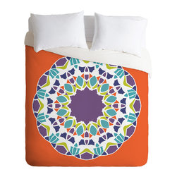 DENY Designs - Karen Harris Mod Medallion Mulberry King Duvet Cover - Do you dream in color? You'll surely start when you bed down beneath this brilliant duvet cover. Got a set of patterned sheets? Simply flip it to the solid white side.