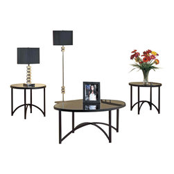 Monarch Specialties - Monarch Specialties I 7920P Black Metal 3 Piece Coffee Table Set w/ Tempered Gla - 0 Cocktail Table (1), End Table (2)