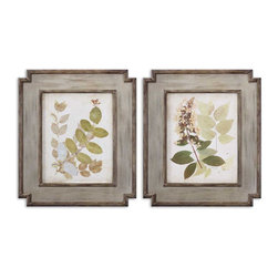 Uttermost - Natures Collage Floral Art Set of 2 - These Oil Reproductions Feature A Hand Applied Brushstroke Finish. The Wood Frames Feature A Center Panel With Medium Brown Undertones And Dark, Taupe Distressing. Frame's Inner And Outer Edges Have A Taupe Undercoat With Light Brown And Black Distressing.