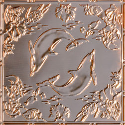 "Decorative Ceiling Tiles - Delightful Dolphins - Copper Ceiling Tile - 24""x24"" - #2486 - Find copper, tin, aluminum and more styles of real metal ceiling tiles at affordable prices . We carry a huge selection and are always adding new style to our inventory."