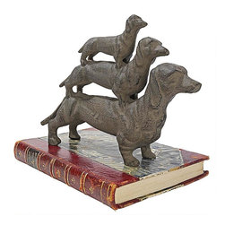 """EttansPalace - Classic Dachshund Cast Iron Statue - Though it's been said that a dachshund is a """"half-dog high and a dog-and-a-half long,"""" we make up for it with three times the charm! A whole stack of long-bodied wiener dogs creates a humorous and fun-loving figurine for the shelf, desk or collectible cabinet. Our heirloom quality, -exclusive cast iron canine sculpture will win your heart and that of any dog lover on your gift list!"""