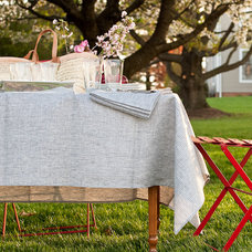 Traditional Tablecloths Linen Tablecloth by Stripe Fog Linen Work