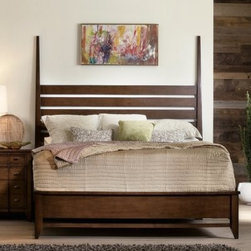 Lorimer Poster Low Profile Bed - Complete your bedroom decor in contemporary style with the handsome Lorimer Poster Bed. Traditional in its elegant appeal, this classic poster bed is expertly constructed of premium hardwood with hickory veneers waxed to a smooth shine and rubbed with a warm, walnut finish. Available in king or queen sizes, the Lorimer Poster Bed can be used in three ways: as a two-post head board/low footboard; a two-post headboard only with no footboard; and a full canopy bed with four posts.DimensionsQueen: 88.5L x 64.5W x 84H inchesKing: 88.5L x 80.5W x 84H inchesNot available for sale in, or delivery to, the state of California.About Hooker Furniture CorporationFor 83 years, Hooker Furniture Corporation has produced high-quality, innovative home furnishings that seamlessly combine function and elegance. Today, Hooker is one of the nation's premier manufacturers and importers of furniture and seeks to enrich the lives of customers with beautiful, trouble-free home furnishings. The Martinsville, Virginia, based company specializes in lifestyle driven furnishings like entertainment centers, home office furniture, accent tables, and chairs.Construction of Hooker FurnitureHooker Furniture chooses solid woods and select wood veneers over wood frames to construct their high-quality pieces. By using wood veneer, pieces can be given a decorative look that can't be achieved with the use of solid wood alone. The veneers add beautiful accents of color and design to the pieces, and are placed over engineered wood product for strength. All Hooker wood veneers are made from renewable resources and are located primarily on the flat surfaces of the furniture, such as the case tops and sides.Each Hooker furniture piece is finished using up to 30 different steps, including 13 steps of hand-sanding and accenting. Physical distressing is done by hand. Pieces receive two to three coats of solid lacquer to create extra depth and add durability to the finish. Each case