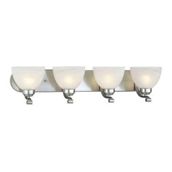 Minka Lavery - Minka Lavery 5424-84-PL Paradox 13 Watt 4 Light Bath in Brushed Nickel with Etch - Designed to fit comfortably into any home and budget. Strong lines are softened with Brushed Nickel finish and Etched Marble Glass. Quality and style make this a very attractive collection at an incredible value.120V LVS Electronic Can be mounted either up or downBulb Included: No Bulb Type: Fluorescent Collection: Paradox Energy Star Compliant: Yes Extension: 8-1 2 Finish: Nickel Glass Shade: Etched Marble Glass Height: 7-1 2 Light Direction: Up Lighting Number of Lights: 4 Style: Contemporary Transitional Suggested Room Fit: Bathroom UL Listed: Damp Location Wattage: 13 Weight: 11.74 Width: 30