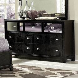 Homelegance - Homelegance Jacqueline Mirrored Drawer Front Dresser in Black Faux Alligator - Glamour reigns supreme in the Jacqueline Collection.Faux alligator veneers are covered in black finish that is highlighted by the mirrored drawer fronts  while crystal button-tufting graces the cased pieces and headboard reflecting not only the light  but your personal style. With white bi-cast vinyl headboard  you can be assured that your personality is well represented.