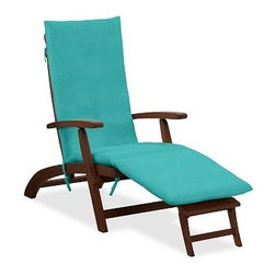 Sunbrella(R) Steamer Single Chaise Cushion, Solid, Aruba - Add the finishing touch to outdoor furniture with our plush, colorful cushions. Designed to be fade resistant, weather resistant, quick to dry and soft to the touch, they're the perfect match for the strength and durability of our Chatham Collection. Click to read an article on {{link path='pages/popups/chatham-care_popup.html' class='popup' width='640' height='700'}}recommended care{{/link}}. Thick, comfortable cushions are available in water-repellent ring-spun polyester canvas or Sunbrella(R) fabric. Machine wash removable slipcover. Spot clean nonremovable slipcover. Sunbrella(R) cushions and slipcovers are special order items which receive delivery in 3-4 weeks. Please click on the shipping tab for shipping and return information. Imported. View our {{link path='pages/popups/fb-outdoor.html' class='popup' width='480' height='300'}}Furniture Brochure{{/link}}.