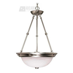 "Satco - Satco 60/3187 15"" Energy Efficient Traditional Inverted Pendant Light - Brushed Nickel is accented by Alabaster glass in this complete product grouping which offers a fixture for every application"