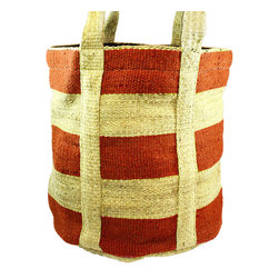 BrandWave - San Diego, Market Bag, Red and Natural - These market bags are hand loomed as well as hand stitched giving each one a perfectly detailed look and finish. They are made from all natural material, with no single bag matching another.