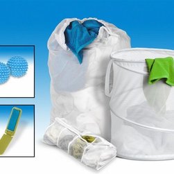 Honey Can Do - 5-Pc Laundry-for-Dummies Laundry Kit - Includes hamper, mesh laundry bag, hosiery wash bag, 2 piece fabric softening dryer balls and a travel pocket lint brush. Perfect all-in-one kit for all your laundry needs. Lifetime limited warranty. Made from polyvinyl, nylon mesh, steel wire and plastic. White finish. No assembly required. Spiral hamper: 14 in. Dia. x 19 in. H. Mesh laundry bag: 24 in. W x 36 in. H. 15.75 in. W x 4.50 in. D x 17.25 in. H (4 lbs.)This 5-piece set is an extremely good value over purchasing all of these laundry items separately. Makes a great housewarming, bridal shower, or off-to-college gift.