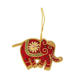 Sitara Collections - Handcrafted Beaded Royal Red Elephant Zardosi Ornament - This Handcrafted ornament is Crafted by artisans in india. this Elephant ornament Features Zardozi-Style Gold Thread Embroidery and is Hand Beaded.