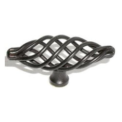 Top_Knobs - Top Knobs - Medium Oval Twist Knob 3 Inch - Patina Black - M623 - Normandy Collection, Steel Base Material,  Weight: 0.1 Lbs