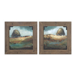 Uttermost - Trees of Love Framed Art Set of 2 - These oil reproductions feature a hand applied brushstroke finish and rust and black strapping accenting the corners. Frames feature a rustic gray wood tone finish.