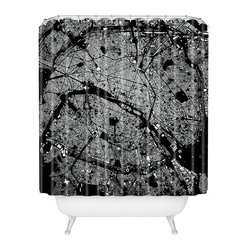 DENY Designs - CityFabric Inc Paris Black Shower Curtain - You'll love Paris in the springtime or any time with this fun shower curtain. In bold black and white, the city streets create a graphic map sure to show off the city of lights in unexpected ways. Each piece is custom printed on woven polyester and is machine washable.