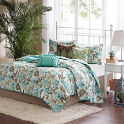 Madison Park - Madison Park Barbados 6-piece Coverlet Set - Instantly update the bedroom with this fun and stylish Barbados coverlet. The piece is covered in a teal and brown print and reverses to a solid green to brighten up any bedroom.