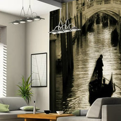 Wall murals - A gorgeous black and white mural of a lonely gondola cruising through the calm waters of Venice, Italy. This wall mural can be custom sized to fit any space and it's self-adhesive, removable and reusable.