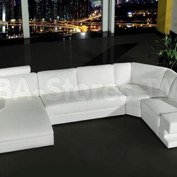 Orion White Bonded Leather Sectional Sofa - VIG Furniture - Very beautiful and very bold, the stunning Orion White Bonded Leather Sectional Sofa - VIG Furniture is quite simply an exquisite set of furniture. This spectacularly brand new design features a built in lamp, which is powered by a battery and can be turned on and off with simple flip of a switch. Along with both side of the sectional, there are chunky arms can be used as an occasional table. Wood construction and adjustable headrests with dense padding throughout combined with the luxurious White bonded leather ensures maximum comfort, stability and durability. Simple and elegant, this modern sectional sofa will bring any living room to life.