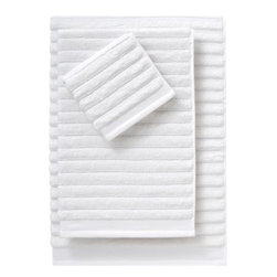 Rayon Bamboo Channel Bath Towels - Plush white towels are my favorite. Stock your guest bath with these.