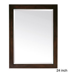 None - Avanity Madison 24-inch Mirror in Light Espresso Finish - The Madison Poplar framed mirror features a light espresso finish with strong decorative lines. It matches the Madison vanities for a coordinated look and includes mounting hardware that makes leveling easy.