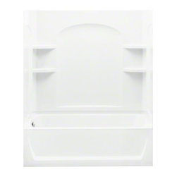 """STERLING PLUMBING - STERLING Ensemble(TM), Series 7122, 60"""" x 32"""" x 74"""" Curve Bath/Shower - Left-han - Classic architecture meets contemporary design in the Ensemble(TM) Curve series, made of solid Vikrell(R) material, blending sleek, clean lines with gentle curves. Corner shelving is perfect for storing bath accessories."""