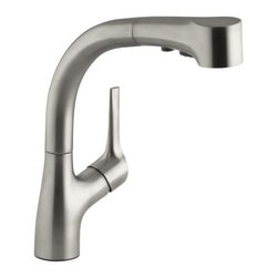 "Kohler - Kohler K-13963-VS Vibrant Stainless Elate 9"" Elate Pullout Spray - Kohler 9"" Elate Pullout Spray Kitchen Sink Faucet The Elate Kitchen faucet by KOHLER meets the growing demand for pullout faucets with a sleek new design. Elate brings the sophisticated look of contemporary design at an affordable price.  Sophisticated design with ergonomic functionality One-piece, self-contained ceramic disc valve allows both volume and temperature control Resists buildup and is easy-to-clean Temperature memory allows faucet to be turned on and off at any temperature setting Integral pullout sprayhead with retractable hose Compact three-function sprayhead with spray, aerated flow, and pause functions ADA compliant side lever handle 10-1/2"" (26.7 cm) escutcheon plate for three-hole installation Flexible connections for easy installation 9"" (22.9 cm) spout reach 2.2 gallon (8.3 L) per minute maximum flow rate at 60 psi (4.14 kPa)"