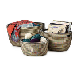 Traditional Plastic Strips Handmade Baskets - Set Of 3 - Whether you're displaying colorful skeins of yearn, collecting your favorite glossy magazines, or simply dropping your keys off at the end of the day, these eye-catching handmade baskets bring open air bazaar-inspired flair to your home. Hand-woven in Senegal from cattails and plastic strips to bind them together, these beautiful designs blend traditional African style with a modern aesthetic. Handmade in Senegal.