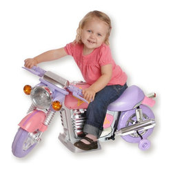 New Star - New Star Pink Motorcycle Battery Powered Riding Toy - NS-881 A - Shop for Tricycles and Riding Toys from Hayneedle.com! It's okay to blink - the New Star Pink Motorcycle Battery Powered Riding Toy moves at speeds that parents can handle. This safe little bike goes forward backward left and right and uses an easy rechargeable 6-volt battery. Playtime: 1-2 hours.