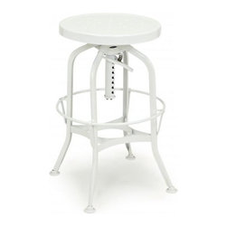 Design Lab Mn Toledo Adjustable Barstool In White