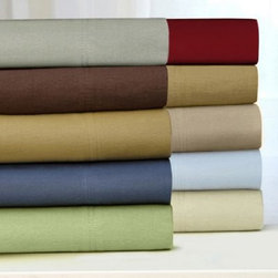 Tribeca Living Flannel 170-Gram 100% Cotton Solid Sheet Set - Cozy up under the Tribeca Living Flannel 170-Gram 100% Cotton Solid Sheet Set. You haven't experienced luxurious warmth until you've snuggled into these thick, 170-gram cotton flannel sheets. The set comes in your choice of colors and is triple-brushed for a sumptuously soft finish. The sheets are brushed on both sides and double pleating on the hems add detail. This set includes a flat sheet, fitted sheet, and two pillowcases. Comes in your choice of size.Queen Set Dimensions:Flat sheet: 94 x 106 in.Fitted sheet: 60 x 80 in.Standard pillowcases: 20 x 30 in.King Set Dimensions:Flat sheet: 112 x 106 in.Fitted sheet: 78 x 80 in.King pillowcases: 20 x 40 in.California King Set Dimensions:Flat sheet: 112 x 106 in.Fitted sheet: 72 x 84 in.King pillowcases: 20 x 40 in.