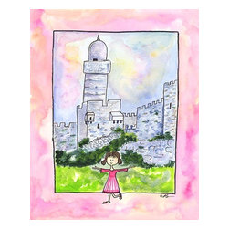 """Oh How Cute Kids by Serena Bowman - Girl in Israel, Ready To Hang Canvas Kid's Wall Decor, 8 X 10 - """"Shalom!""""  I love to travel. LOVE LOVE LOVE to TRAVEL. I love everything about it - new food, new streets, new people - I think it is best to way to experience life. This is part of my Travel Girl series that started out as a shout out to all the places I have been!  I hope you enjoy my art as much as I enjoyed making it."""