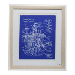 """Britannia Blueprint With Frame - Authentic nautical blueprints in a premium quality wooden white frame and linen matting. Dimensions: 36"""" height, 31.5"""" width, 0.5"""" depth"""