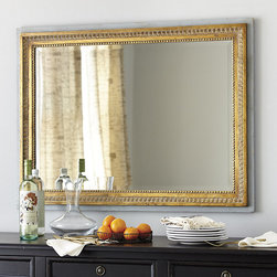Ballard Designs - Alesia Mirror - Beveled mirror. Stepped frame design. Hangs both ways. D-ring hangers. The picture-style frame transforms our Alesia Mirror into functional art. Butternut wood molding is carved with classic egg-and-dart and beaded details. Hand applied antique gold finish is washed in light gray for an antique look. Alesia Mirror features: . . .  .