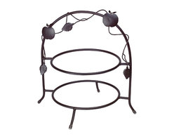 """Renovators Supply - Plate Holders Black Wrought Iron Plate Holder - Crafted of forged wrought iron, this piece measures 13"""" wide, 15"""" high, and will hold two 10"""" plates."""