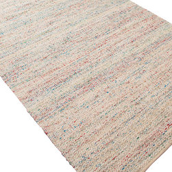 Jaipur Rugs - Flat-Weave Soft Hand Wool/Art Silk Ivory/Blue Area Rug (8 x 10) - Woven recycled Sari silk is mixed with un-dyed wool to create a blanket of texture and color. The rugs are reversible making them versatile as well as soft and comfortable.