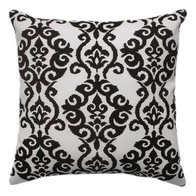 Land of Pillows - Waveerly Sun N Shade Luminary Licorice Black Damask Style Outdoor Throw Pillow, - Fabric Designer - Waverly
