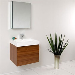 Fresca - Fresca Nano Teak Modern Bathroom Vanity with Medicine Cabinet - This vanity is striking in its simplicity. Don't forget to check under the hood with the innovative storage system from Blum that includes a nested drawer. Perfect for smaller bathrooms. Many faucet styles to choose from. Optional side cabinets are available. Features MDF/Veneer with Acrylic Countertop/Sink with Overflow Nested Drawer Storage System (Soft Closing Drawers) Single Hole Faucet Mount (Faucet Shown In Picture May No Longer Be Available So Please Check Compatible Faucet List) P-trap, Faucet/Pop-Up Drain and Installation Hardware Included How to handle your counter Installation GuideView Spec Sheet