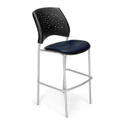 OFM - OFM Stars Cafe Height Vinyl Silver Chair, Navy - Stacks 2 high
