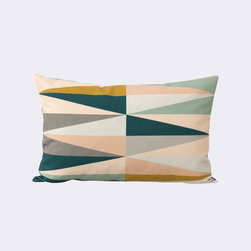 Arrowhead Pillow - Relax in colorful comfort with this feather- and down-filled pillow. Its soft, multicolored pattern has been hand printed onto 100% organic cotton canvas, and will liven up any space you toss it.