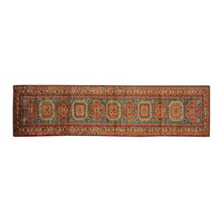 1800-Get-A-Rug - Super Kazak Sky Blue Runner 100% Wool Hand Knotted Oriental Rug Sh16594 - Our Tribal & Geometric hand knotted rug collection, consists of classic rugs woven with geometric patterns based on traditional tribal motifs. You will find Kazak rugs and flat-woven Kilims with centuries-old classic Turkish, Persian, Caucasian and Armenian patterns. The collection also includes the antique, finely-woven Serapi Heriz, the Mamluk Afghan, and the traditional village Persian rug.
