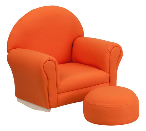 Flash Furniture - Flash Furniture Kids Orange Fabric Rocker Chair and Footrest - Kids will now get to enjoy furniture designed specifically for their size! This charming set is sure to become your child's favorite chair. The rocker base will allow kids to gently rock while watching TV or reading their favorite book. This portable chair is great for seating in any room. The durable fabric upholstery will hold up against your active child.