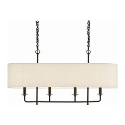"Arteriors - Arteriors Home - Beatty 4 Light Chandelier - 89417 - Arteriors Home - Beatty 4 Light Chandelier - 89417 Features: Beatty Collection ChandelierLong and narrow 4-light pendant in steelDark bronze finish Features: eggshell linen fabric oval shadeLinen oval shade Some Assembly Required. Dimensions: 9"" W X 40"" D X 20"" H"