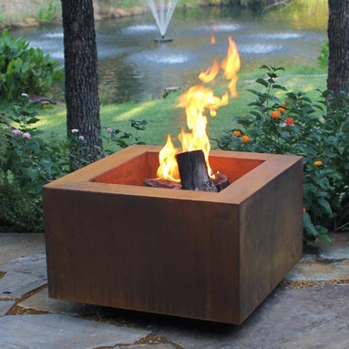 """Fire Pits - Great for Fall and Winter - The Bentintoshape 30"""" Square Fire Pit is constructed with 11 Gauge Cor-Ten Steel for maximum durability and rustic antique appearance. Cor-Ten, also known as Weathering Steel, is a steel alloy which was developed to eliminate the need for painting and form a stable rust-like appearance when exposed to the weather. This fire pit is perfect for a small patio, a day at the beach or a weekend at the hunting camp."""