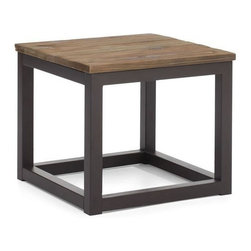 "Solid wood and metal square end table Civic Center (W19.7"" x D19.7"" x H17.7"") - End table Civic Center features very simple though pretty conceptual in terms of style design. It has a square table tom made of solid elm wood. It is mounted on a sturdy antiqued metal frame."