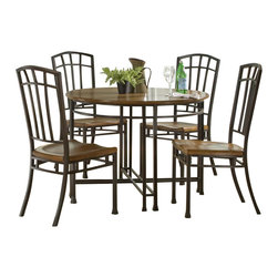 "Home Styles - Home Styles Oak Hill 5 Piece Round Casual Dining Set in Oak Finish - Home Styles - Dinette Sets - 5050318 - Home Styles 5PC Dining Set is constructed of Ash solids and Oak veneers with engineered wood in a rich multi- step distressed Oak finish. Table features include stylish metal base in an antiqued bronze finish with accented rubbed edges and uniquely hand distressed top. Chairs feature include matching metal back and legs and uniquely hand distressed contoured seat. Seat height 18""Features:"
