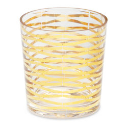 Kathy Kuo Home - Gilda Hollywood Regency Gold Stripe Short Rocks Glasses - Set of 4 - Ring in all of your happy occasions with these classic Old Fashion style glasses. Polished gold ribbons cascade down the length of these luxurious glasses, creating a celebratory scene for your holidays and beyond.