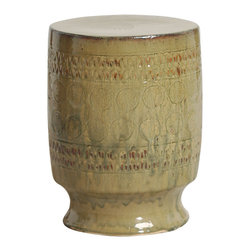 Kathy Kuo Home - Contemporary Beige Taupe Tan Circle Motif Garden Stool Seat - Traditionally used in China as tea tables- these garden stools make a perfect addition to your living space as side tables, or clustered together to be used as a coffee table.  Glazes are triple fired for added luster and shine.  With a hand made product, glaze variations of up to 10% is to be expected.