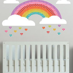 The Lovely Wall Co., - Girls Rainbow - Wall Decal- Removable Wall Decal - Self Adhesive Vinyl, Bright - Girls Rainbow - Wall Decal