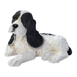 """EttansPalace - Black and White Cocker Spaniel Puppy Dog Statue Sculpture Figurine - Few can deny the tug-at-the-heartstrings draw of this timeless image of man's best friend. Designed in Bagni di Lucca, Italy by the artisans of the renowned Castagna workshop, each Cocker Spaniel puppy statue is researched for authenticity of breed. The attention to detail in this Cocker Spaniel puppy dog sculpture is absolutely exquisite, and features finely sculpted """"living"""" eyes. Each dog statue is lovingly made of quality designer resin and then hand-painted by skilled Castagna artisans. This Cocker Spaniel puppy dog figurine is for the """"discriminating dog lover"""" and makes the perfect gift for any canine aficionado. 10""""W x 6.5""""D x 6.5""""H. 3 lbs."""