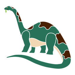My Wonderful Walls - Brachiosaurus Dinosaur Stencil 1 for Painting - - 2-piece brachiosaurus wall stencil
